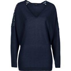Swetry klasyczne damskie: Sweter z gładkiej dzianiny z koronką bonprix ciemnoniebieski