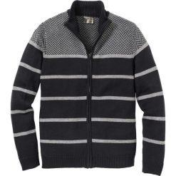 Sweter rozpinany w paski Regular Fit bonprix czarno-szary. Czarne kardigany męskie bonprix, l, w paski, ze stójką. Za 109,99 zł.