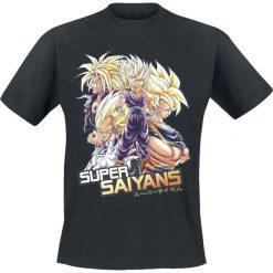 Dragon Ball Z - Super Saiyans T-Shirt czarny. Brązowe t-shirty męskie z nadrukiem marki Dragon Ball, s, z okrągłym kołnierzem. Za 74,90 zł.