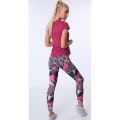 Legginsy sportowe z kolorowym nadrukiem czarno-różowe MR16018. Czarne legginsy we wzory Fasardi, l. Za 69,00 zł.