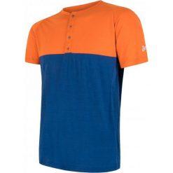 Odzież termoaktywna męska: Sensor T-Shirt Męski Z Guzikami Merino Air Pt Pomarańczowo-Niebieski M