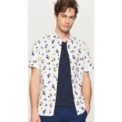 Koszule męskie na spinki: Wzorzysta koszula regular fit – Biały
