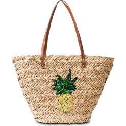 """Torba plażowa shopper """"Ananas"""" bonprix naturalny. Brązowe torby plażowe marki bonprix. Za 79,99 zł."""
