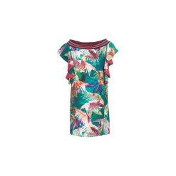 Sukienki krótkie Sisley  NOUGA. Zielone sukienki hiszpanki Sisley, z krótkim rękawem, mini. Za 370,30 zł.