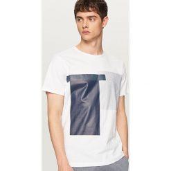 Koszulki męskie: T-shirt z geometrycznym nadrukiem – Biały