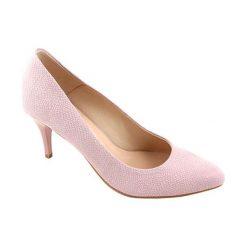 Buty ślubne damskie: Skórzane czółenka w kolorze jasnoróżowym