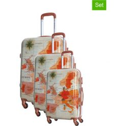 Walizki: Zestaw walizek w kolorze beżowo-pomarańczowym ze wzorem – 3 szt.