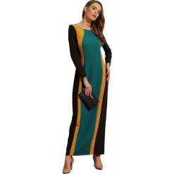 Sukienka w kolorze czarno-ciemnozielonym. Czarne długie sukienki marki Almatrichi, s, z okrągłym kołnierzem, z długim rękawem, proste. W wyprzedaży za 209,95 zł.