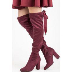 Buty zimowe damskie: Bordowe muszkieterki wiązane wstążką ALLIE