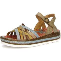 """Rzymianki damskie: Skórzane sandały """"Zega"""" w kolorze rdzawo-szarym"""