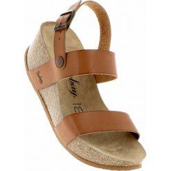 Rzymianki damskie: Skórzane sandały w kolorze karmelowym