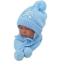 Czapka niemowlęca z szalikiem CZ+S 001C. Niebieskie czapeczki niemowlęce Proman. Za 38,76 zł.