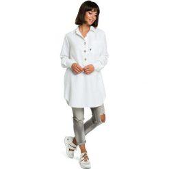 Biała Długa Koszula z Kieszenią. Czerwone koszule damskie marki Molly.pl, l, z jeansu, biznesowe, z dekoltem na plecach, z długim rękawem. Za 129,90 zł.
