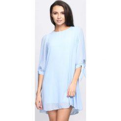 Sukienki: Niebieska Sukienka Ribbons On Sleeve