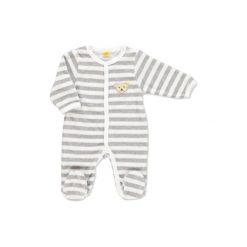 Steiff  Baby Śpioszki w paski softgrey - szary. Szare pajacyki niemowlęce Steiff, z bawełny. Za 132,00 zł.