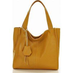 Torebki klasyczne damskie: MARGOT Modna skórzana torba shopperka żółty dollaro