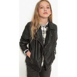 Kurtka w stylu motocyklowym 10-16 lat. Czarne kurtki chłopięce przejściowe La Redoute Collections, z poliesteru. Za 132,26 zł.