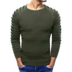 Swetry klasyczne męskie: Sweter męski khaki (wx0980)