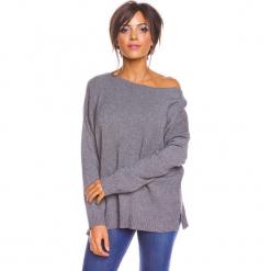"""Sweter """"Louina"""" w kolorze szarym. Szare swetry klasyczne damskie marki So Cachemire, s, z kaszmiru, z dekoltem w łódkę. W wyprzedaży za 173,95 zł."""