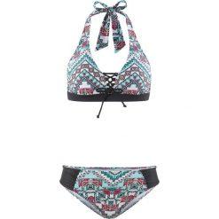 Bikini: Bikini z ramiączkami wiązanymi na szyi (2 części) bonprix biało-zielony
