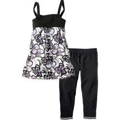 Sukienka + legginsy 3/4 (2 części) bonprix czarny - wzorzysty. Różowe legginsy dziewczęce marki Pakamera, z długim rękawem, długie. Za 37,99 zł.