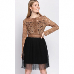 Camelowa Sukienka Dependable. Szare sukienki koronkowe marki Born2be, s, z okrągłym kołnierzem, mini. Za 79,99 zł.