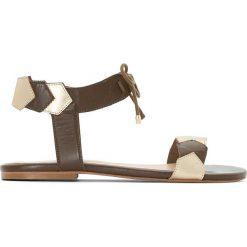 Rzymianki damskie: Skórzane sandały z metalowym detalem, odpowiednie na szerokie stopy 38-45