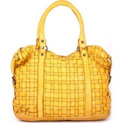 Torebki klasyczne damskie: Skórzana torebka w kolorze żółtym – 33 x 27 x 13 cm