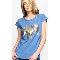 T-shirty damskie: Niebieski T-shirt Golden Birds