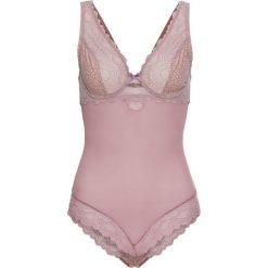 Body bonprix różowobrązowo-cielisty. Fioletowe bluzki body bonprix, z haftami, z koronki. Za 49,99 zł.