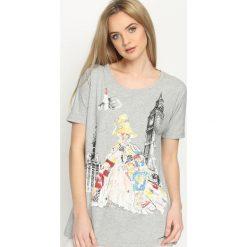 Szary T-shirt Worldly. Szare bluzki z odkrytymi ramionami Born2be, m, z aplikacjami, z okrągłym kołnierzem. Za 39,99 zł.