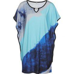 Tunika shirtowa bonprix ciemnoniebieski z nadrukiem. Białe tuniki damskie z nadrukiem marki bonprix. Za 99,99 zł.