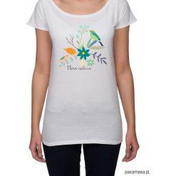 Koszulka damska. kwiaty i ptaki. Szare bluzki nietoperze marki TOMMY HILFIGER, m, z nadrukiem, z bawełny, casualowe, z okrągłym kołnierzem. Za 85,00 zł.