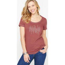 Gładka koszulka z okrągłym wycięciem szyi i krótkim rękawem. Różowe bluzki z odkrytymi ramionami Anne weyburn, z bawełny, z okrągłym kołnierzem. Za 102,86 zł.