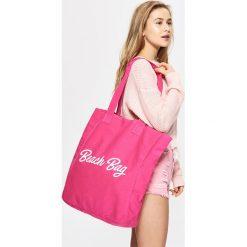 Torebki klasyczne damskie: Materiałowa torba z napisem - Różowy