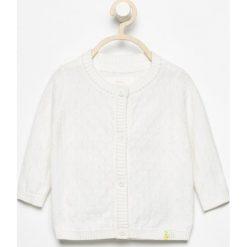 Odzież dziewczęca: Biały rozpinany sweter - Kremowy