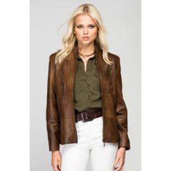 Odzież damska: Skórzana kurtka w kolorze brązowym