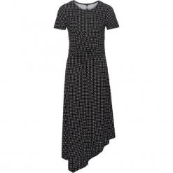 Sukienka shirtowa bonprix czarno-biały w kropki. Czarne sukienki asymetryczne marki numoco, s, z materiału, z asymetrycznym kołnierzem. Za 89,99 zł.
