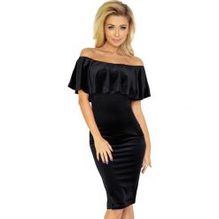 Giovanna Sukienka hiszpanka - welur czarna. Czarne sukienki hiszpanki numoco, s, z materiału, z dekoltem typu hiszpanka. Za 159,00 zł.