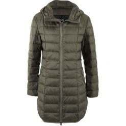 Płaszcz z lekkiego puchu bonprix ciemnooliwkowy. Zielone płaszcze damskie pastelowe bonprix, z puchu. Za 239,99 zł.