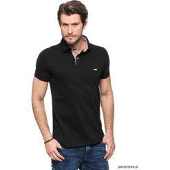 Koszulki męskie: Koszulka polo czarna z kratką