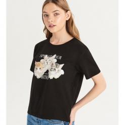 T-shirt ze zwierzakiem - Czarny. Czarne t-shirty damskie Sinsay, l. Za 19,99 zł.