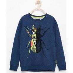 Odzież chłopięca: Bluza z melanżowej dzianiny - Granatowy
