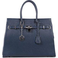 Torebki klasyczne damskie: Skórzana torebka w kolorze niebieskim – 38 x 29 x 13,5 cm