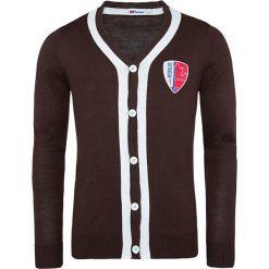 """Kardigan """"Faro"""" w kolorze brązowym. Brązowe kardigany męskie marki Nebulus, m, z aplikacjami, z dzianiny. W wyprzedaży za 173,95 zł."""
