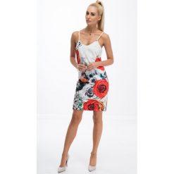 Drukowana sukienka w kwiaty / czerwony 8254. Czerwone sukienki marki Fasardi, l, w kwiaty. Za 49,00 zł.