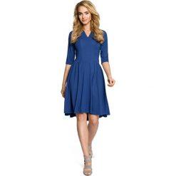Sukienki: Sukienka z marszczonym rozkloszowanym dołem – niebieska