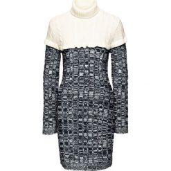 Sukienka dzianinowa z golfem bonprix czarno-kremowy. Czarne sukienki dzianinowe marki bonprix, z golfem. Za 49,99 zł.