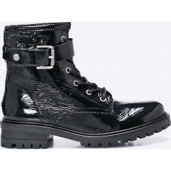 Hilfiger Denim - Botki. Czarne buty zimowe damskie Hilfiger Denim, z denimu, z okrągłym noskiem, na klamry. W wyprzedaży za 449,90 zł.