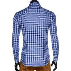 KOSZULA MĘSKA W KRATĘ Z DŁUGIM RĘKAWEM K429 - BŁĘKITNA/GRANATOWA. Brązowe koszule męskie na spinki marki Ombre Clothing, m, z aplikacjami, z kontrastowym kołnierzykiem, z długim rękawem. Za 59,00 zł.